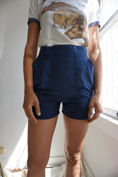 "1960s High Waisted Navy Shorts, Sz. 25"" Waist"