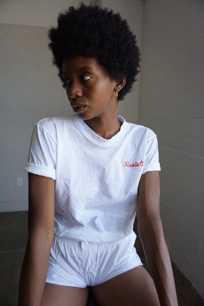 RESIST Embroidered Vintage Tee, Multiple Sizes
