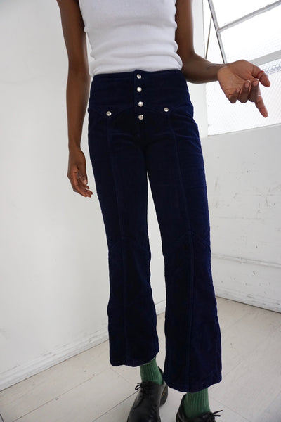 1970s Navy Velvet Bell Bottom Pants, Sz. 27 x 28.5