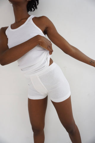 High Rise White Ribbed Cotton Boy Shorts, Sz. S-M