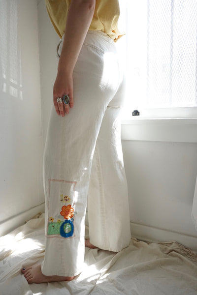 SALE High Waisted Embroidered Bell Bottoms, Sz. 28 x 31