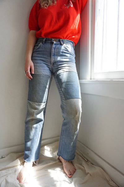 SALE 70s Lee High Waisted Patched Jeans Sz. 28.5 x 30