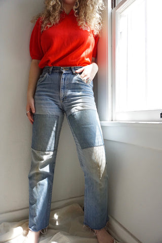 70s Lee High Waisted Patched Jeans Sz. 28.5 x 30
