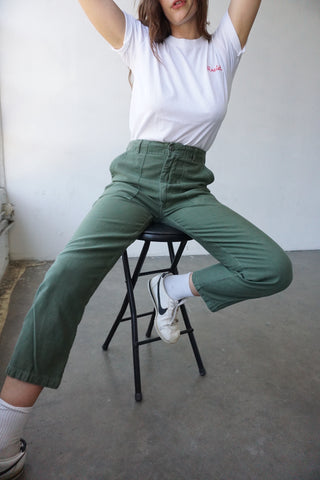 High Waisted 70s Army Pants, Sz. 30 x 27.5