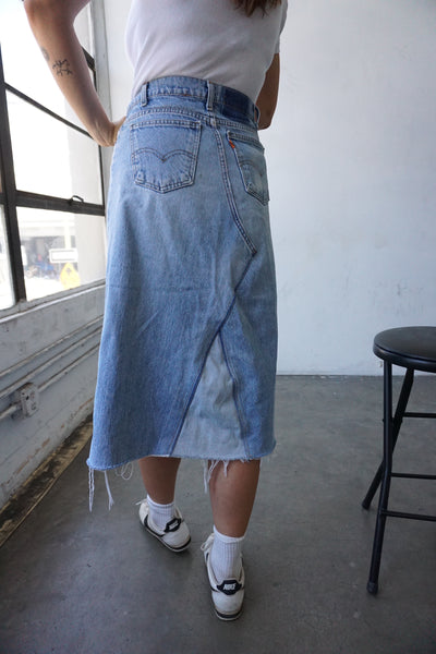 "SALE Patched Denim Midi Skirt, Sz. 31"" Waist"
