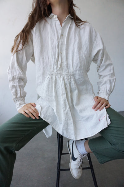1920s White Linen Painter Shirt, Sz. M