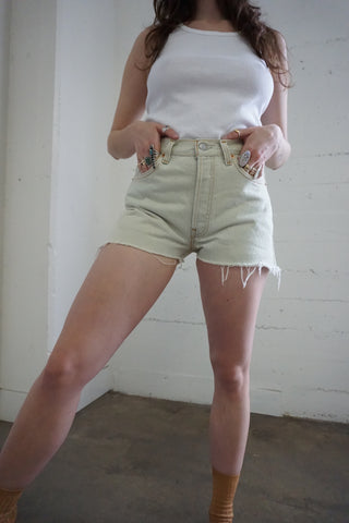 80s Ultra Light Wash Levi's 501 Cutoff Shorts, Sz. 27