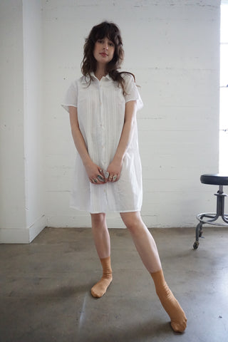 White Cotton Pin Tucked Shirt Dress, Sz. M - L