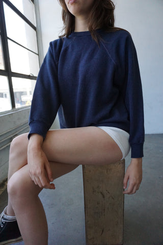 Blue Black Raglan Sweatshirt, Sz. M-L
