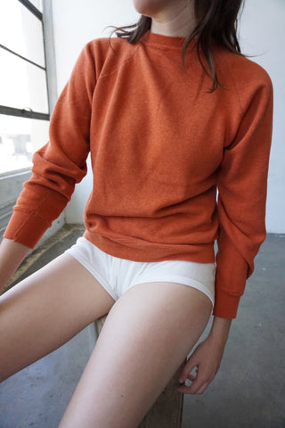 70s Burnt Orange Raglan Sweatshirt, Sz. S-M