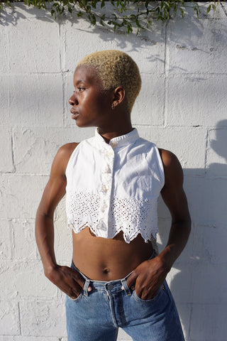 White Eyelet Crop Top, Sz. XS