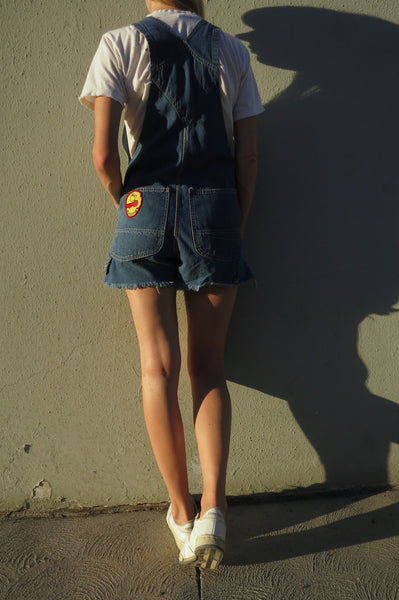 SALE 70s Denim Overall Shorts Up to Sz. 27.5 Waist