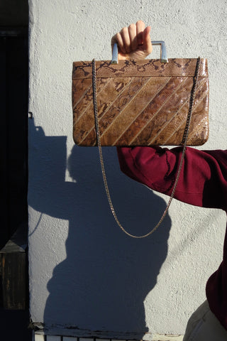 Snakeskin Patchwork Shoulder Bag