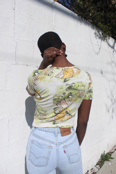 SALE 70s Novelty Print Cropped Tee, Sz. S