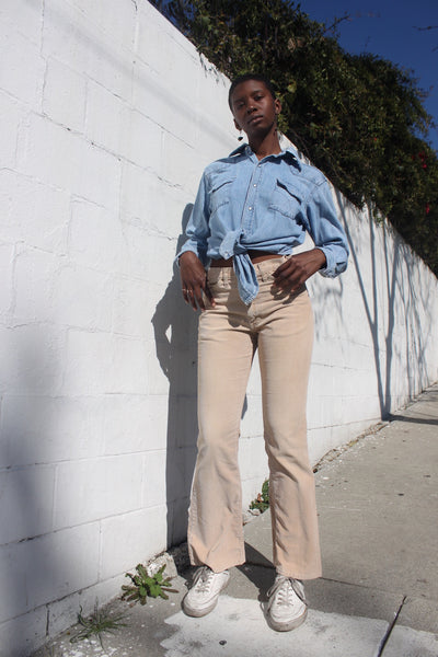SALE 1970s Tan Bell Bottom Corduroy Pants Sz. 28.5 x 31