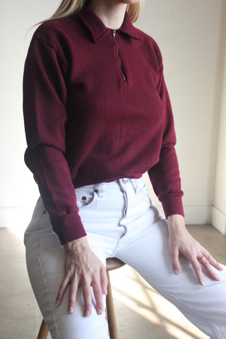 70s Burgundy Collared Sweatshirt, Sz. S