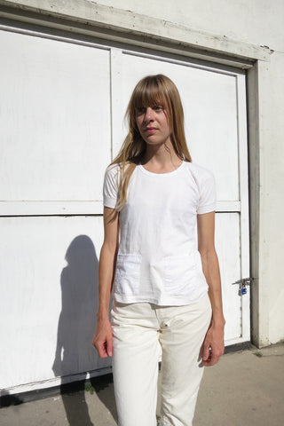 70s White Tshirt with Pockets Sz. XS