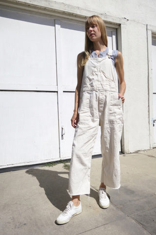 Overalls Off White Cotton Up to Sz. 32 Waist
