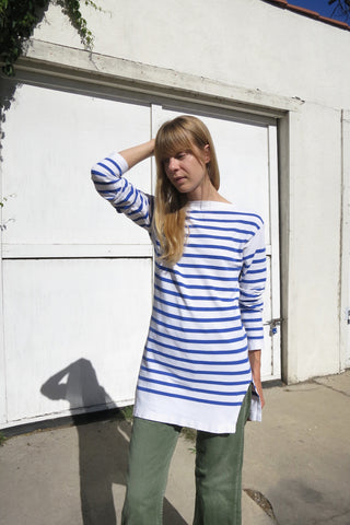 Striped Cotton Sailor Shirt 60s Sz. M