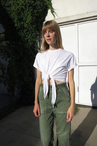 Cropped White Tshirt w/ tie Front, One Size