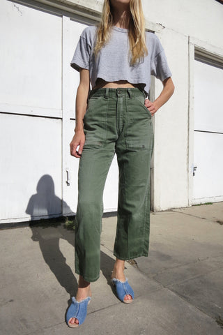 Army Pants High Waist Patched Sz. 27 Waist