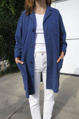 Chore Jacket Blue Cotton 70s Sz. M