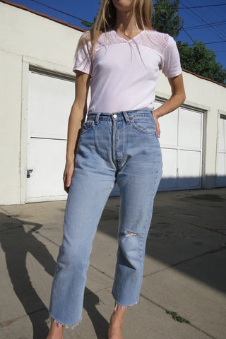 70s Blush Cotton Tee w/ Mesh Detail, Sz. S