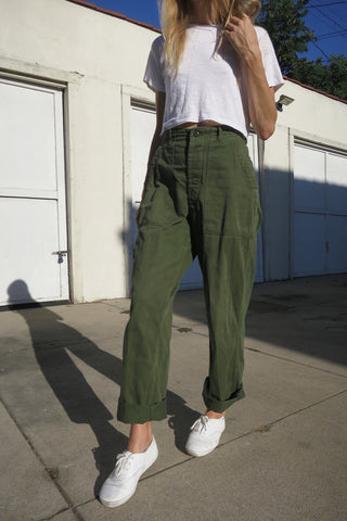 Army Pants High Waist Brushed Cotton Sz. 26.5 - 27.5 Waist