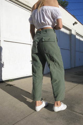 Army Pants High Waist Brushed Cotton Sz. 27 Waist