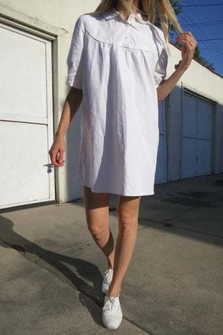 SALE Baby Doll Dress White Cotton w/ Peter Pan Collar Sz. M