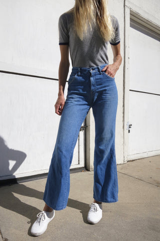 SALE 70s Bell Bottom Chambray Jeans Sz. 27 x 31