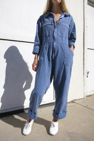 70s Coveralls Blue Gray Brushed Cotton Sz. 33 Waist