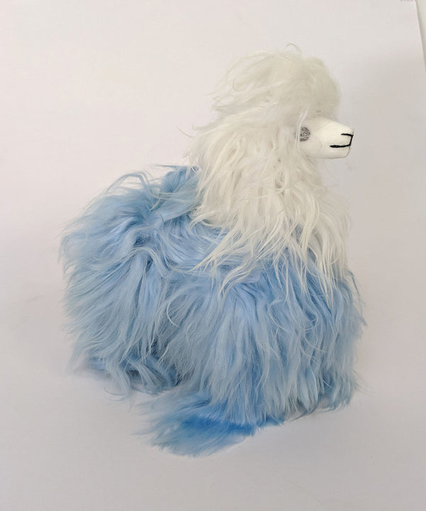 Peruvian Alpaca Bicolor Blue Stuffed Animal