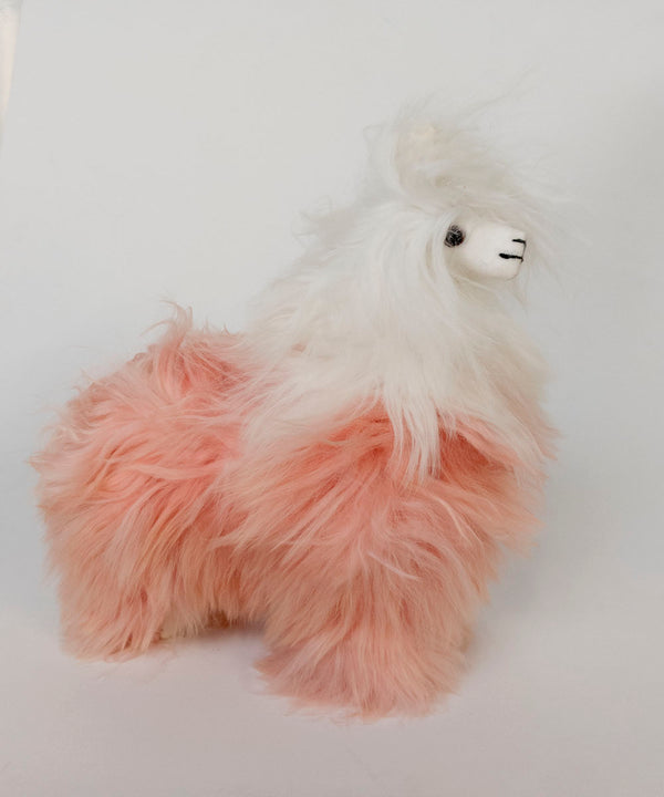 Alpaca Stuffed Animal White and Pink Alpaca
