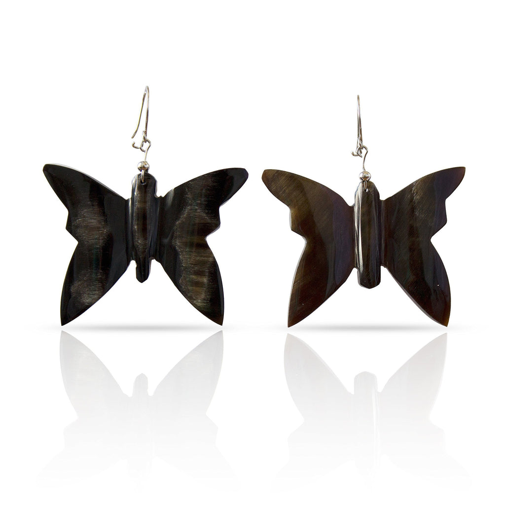 Bull Horn Eco Earrings- Black Butterfly