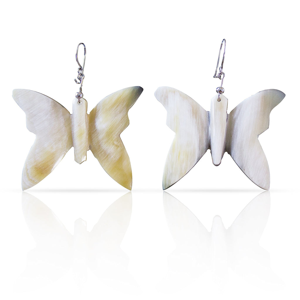 Bull Horn Eco Earrings - White Butterfly