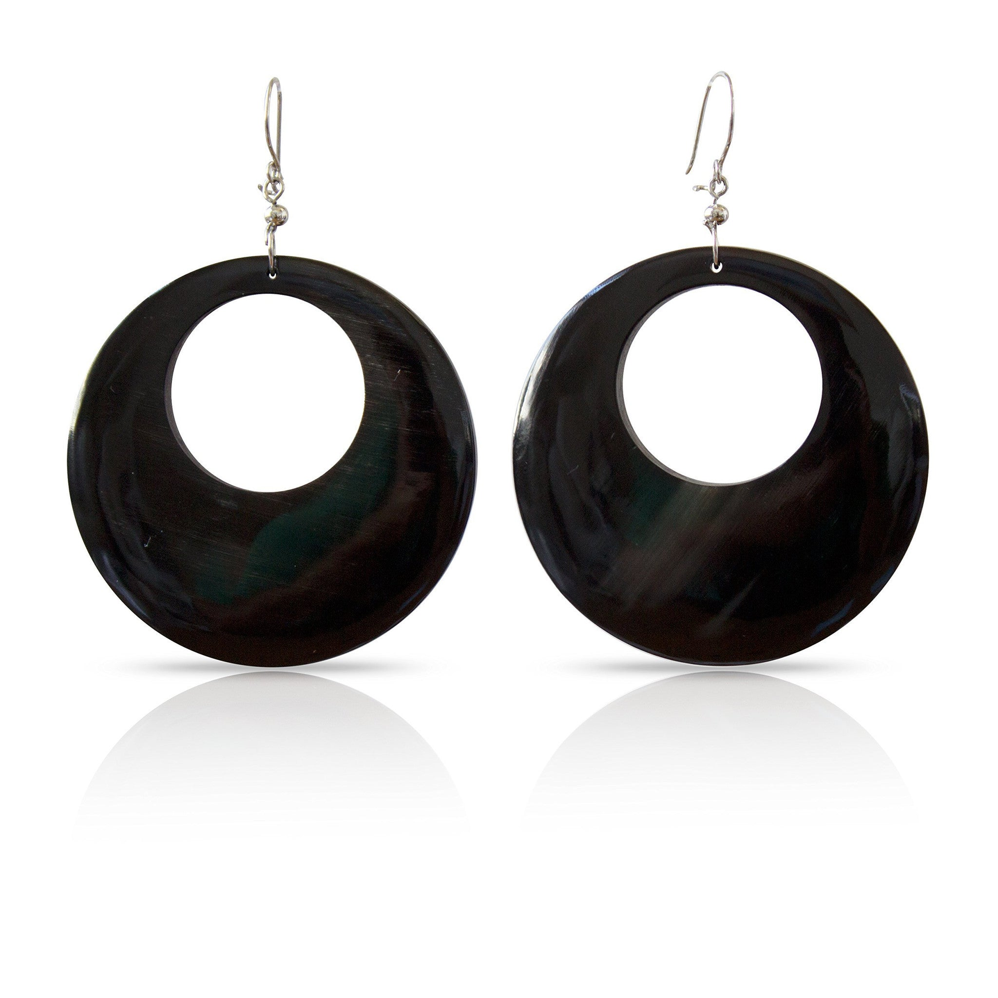 Bull Horn Black Oval Earrings