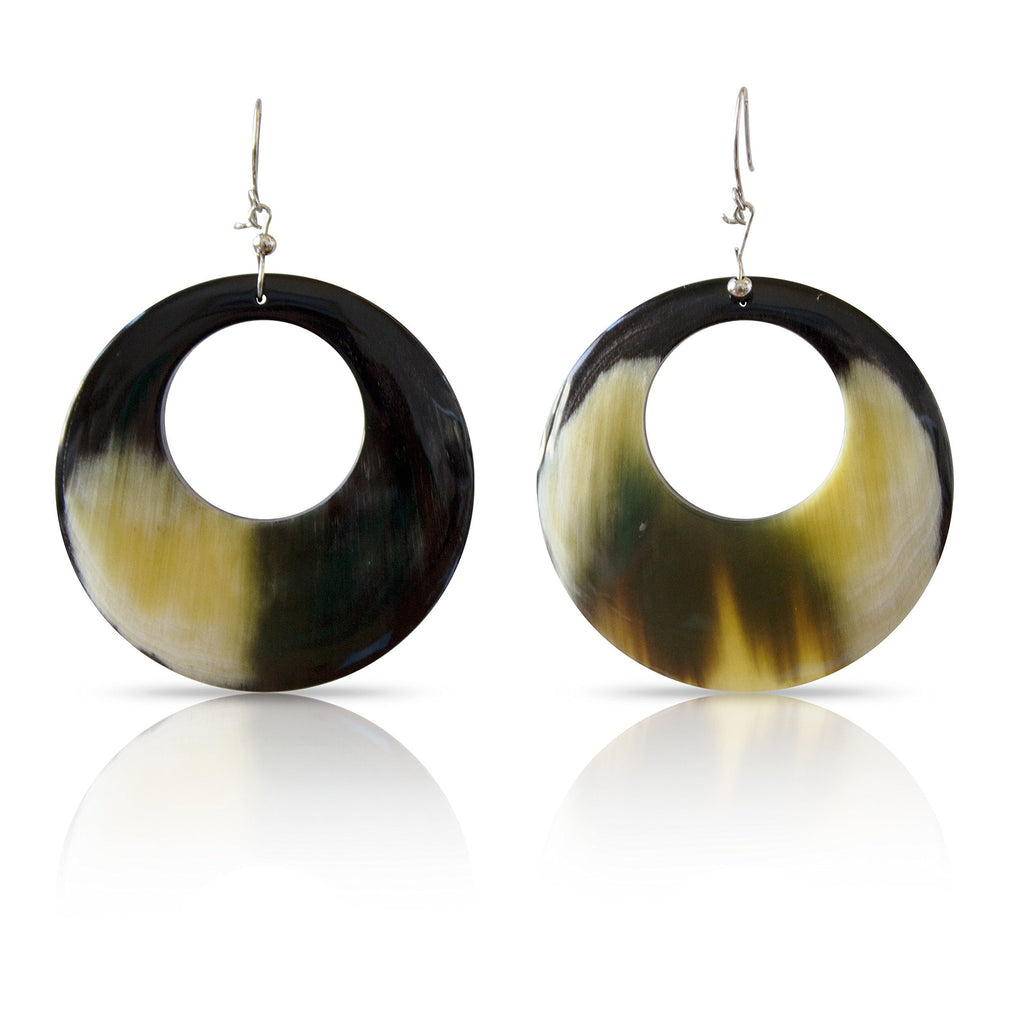 Bull Horn Mixed Oval Earrings