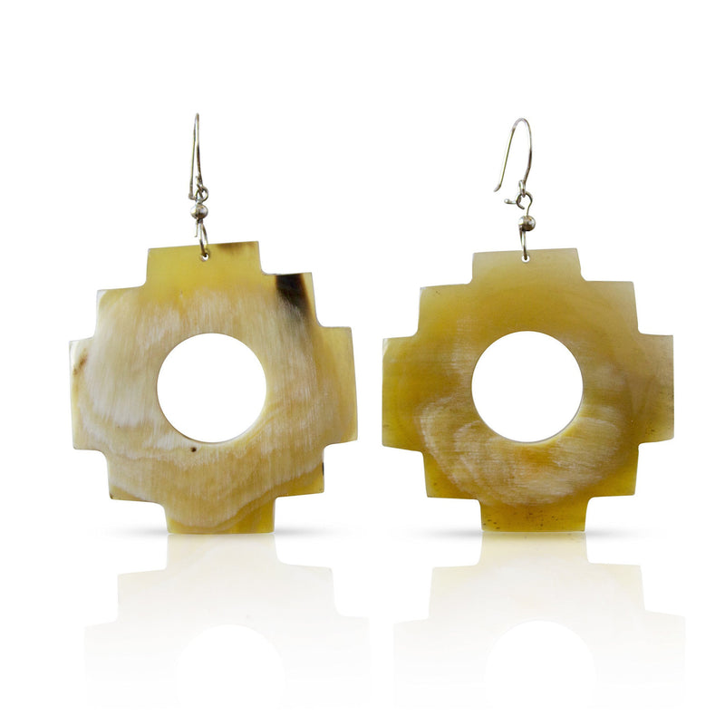 Bull Horn Eco Earrings - White Chakana