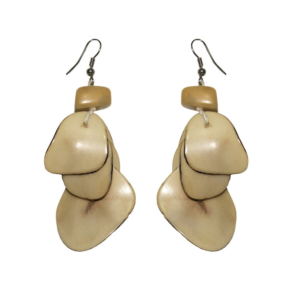Natural  Drop Tagua Earring