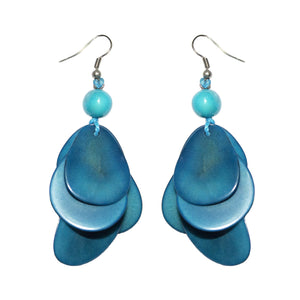 Turquoise  Drop Tagua Earring