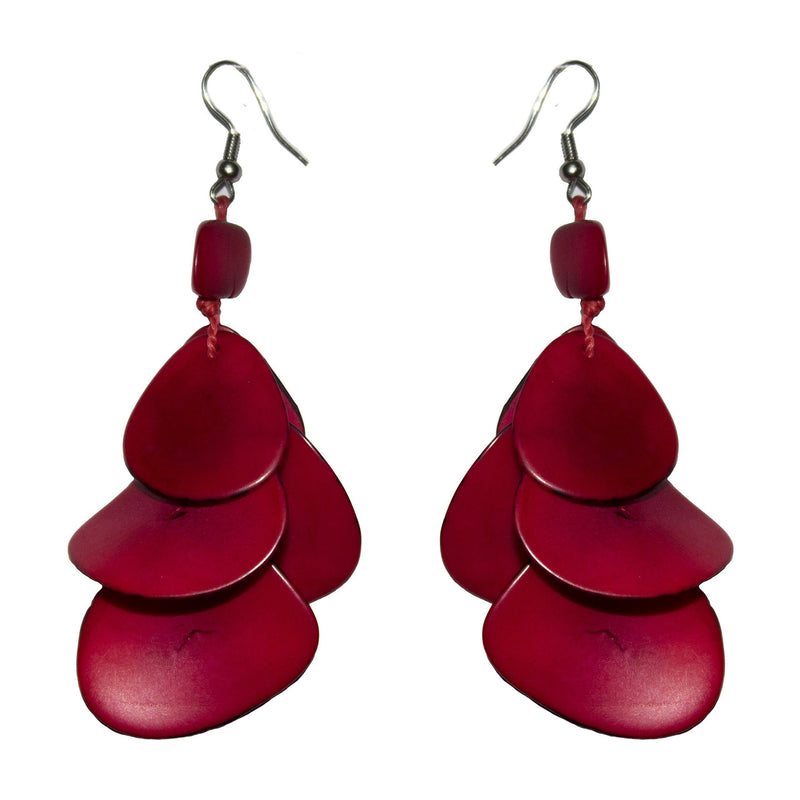 Red  Drop Tagua Earring