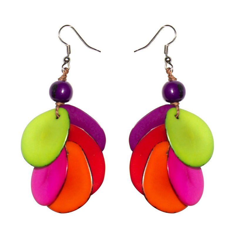 Rainbow  Drop Tagua Earring