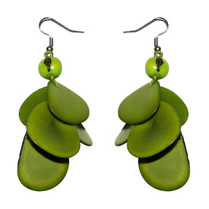Green  Drop Tagua Earring