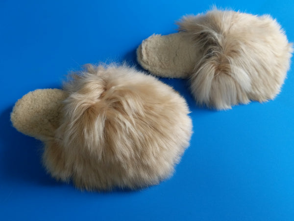 Handmade Peruvian Alpaca Slipper Suri Light Brown