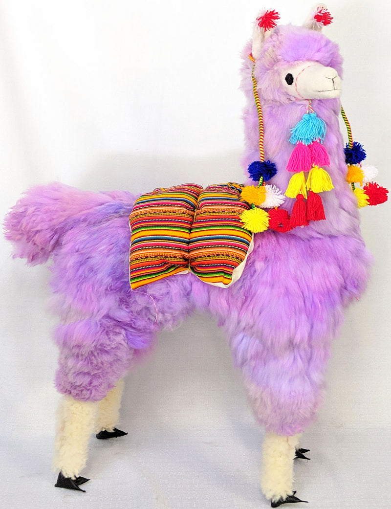 Large Lavender Llama with Pompoms