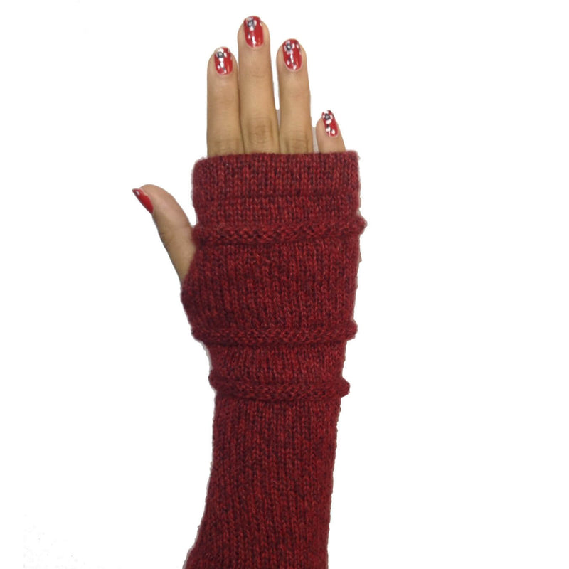 Alpaca Fingerless Gloves Red