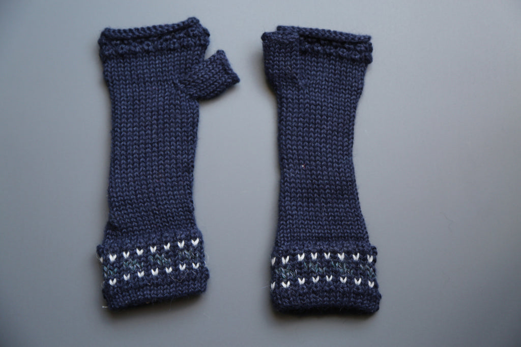 Alpaca Gloves Chain Blue