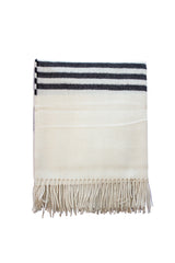 Alpaca Throw Blanket off white color with grey stripes and white fringe
