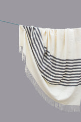Alpaca Throw Blanket white with grey stripes